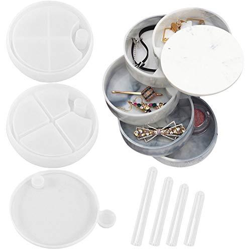 Keyzone Molde de resina epoxi, molde de silicona, caja giratoria de resina con 4 soportes para tubos transparentes, organizador de joyas redondo de resina para joyero, anillos, collares