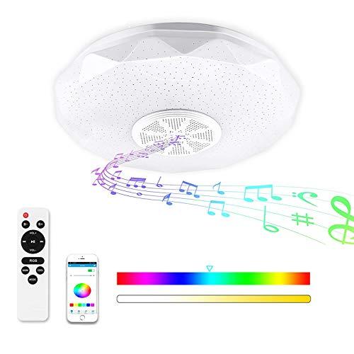 Lámpara de Techo Bluetooth, Luz de Techo con Música, Control Remoto o de APP, LED Regulable, Lámpara de Música con Cambio de Color, 36W 180-265V Pantalla Starlight con diseño de corte de diamante