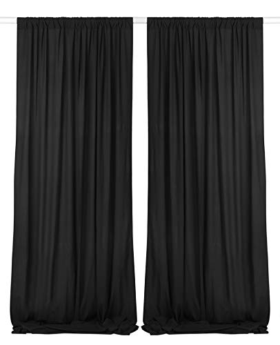 SHERWAY 2 Panels 4.8 Feet x 10 Feet Silky Soft Black Backdrop Drapes, Polyester Window Curtains for Wedding Party Ceremony Stage Decoration (10% Transparency)