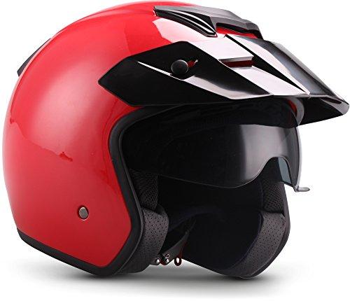 "Moto Helmets® S77 ""Red"" · Jet-Helm · Motorrad-Helm Roller-Helm Scooter-Helm Bobber Mofa-Helm Vintage Pilot Biker Helmet · ECE M (57-58cm)"