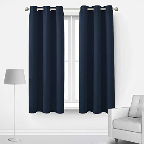 Deconovo Thermal Blackout Curtains Noise Cancelling Sun Light Blocking Set of 2 Room Darkening Drapes for Home Indoor Playroom Gaming Room Kitchen, 2 Panels, 42x45 in, Navy Blue