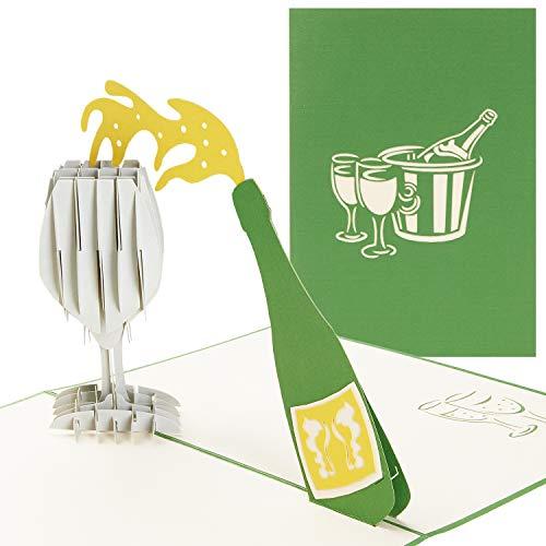 PaperCrush® Pop-Up Karte Champagner - 3D Glückwunschkarte mit Sektglas für div. Anlässe (Geburtstagskarte, Runder Geburtstag, Hochzeitskarte) - Handgemachte Geschenkkarte für Sie