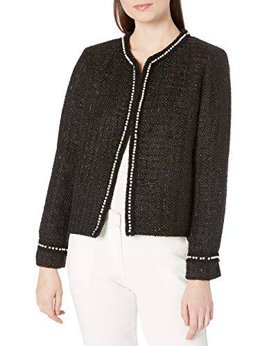 Tahari ASL Women's Pearl Trim Boucle Jacket Dress Coat, Black Metallic, 14