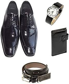 Eray Kundura Klasik Siyah Düz Erkek Ayakkabısı + Cüzdan + Kemer + Kol Saati