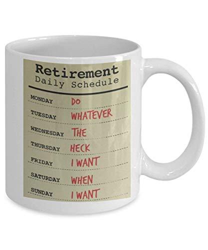 N\A Calendario de jubilación, Haga lo Que Sea, Divertidas Tazas de café con Leche, Tazas de té, 11 oz, Ideas de Regalos para Hombres de jubilación, Planes de jubilación