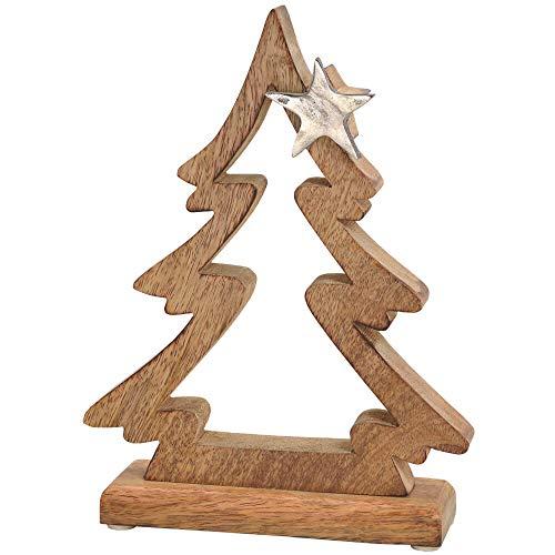 matches21 Tannenbaum & Stern Dekofigur Weihnachtsdeko Holz & Metall Figur Weihnachten Silber/braun 1 STK 17x23 cm