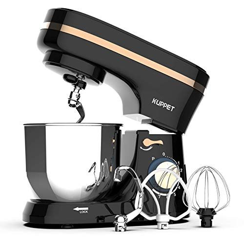 Kuppet Stand Mixers, 380W, 8-Speed Tilt-Head Electiric Food Stand Mixer with Dough Hook, Wire Whip & Beater, Pouring Shield, 4.7QT Stainless Steel Bowl. (Black)