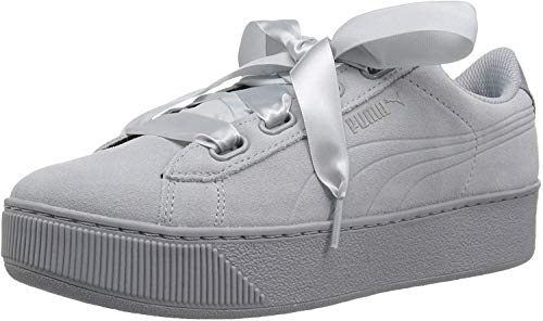 Puma Vikky Platform Ribbon S Leather Sneaker Women Kids Trainers 366418 01 Black, Numero di Scarpe:EUR 41