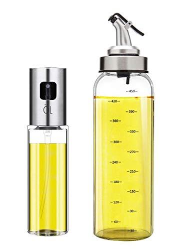 Oil Bottle Olive Oil Dispenser Bottle Oil Sprayer Set for Cooking Oil Pot 17OZ Lead-Free Glass Bottle for Oil Drip Free Spout Bottle Stainless Steel BBQ, Salad, Kitchen Baking, Roasting, Frying