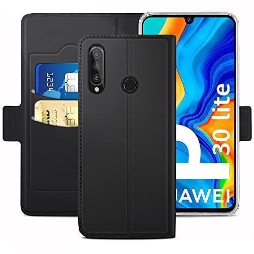 Handyhülle für Huawei P30 lite Hülle & Huawei P30 Lite New Edition Hülle Premium Leder Flip [Standfunktion] [Kartenfächern][Fingerabdruck-Version] Schutzhülle für Huawei P30 lite Tasche, Schwarz