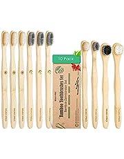 Cepillo Dientes Bambú 100% Natural,Paquete de 10 cepillos de Dientes de Bambú Ergonómico,Sin BPA,Veganos y Biodegradable,con Cerdas de Carbono Suaves,Embalaje Ecológico y Independiente|Mejor Limpieza