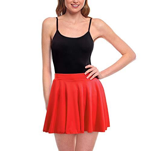 Faldas Mujer Cortas Plisada Bsica Roja [Falda Skater Patinaje]Talla XXL Multifuncin Disfraz Baile