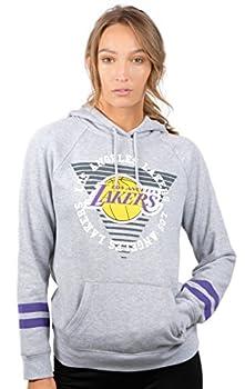 Ultra Game NBA Golden State Warriors Womens Soft Fleece Pullover Hoodie Sweatshirt With Varsity Stripe Heather Gray Large