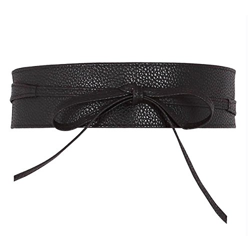 CHIC DIARY Damen Fashion Gürtel Breiter Taillengürtel Hüftgürtel Bindegürtel Ledergürtel in vielen Farben, Schwarz, Einheitsgröße