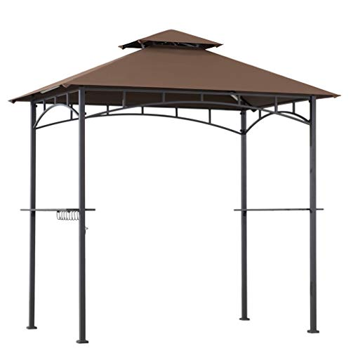 AmazonBasics Outdoor Patio Grill Gazebo with LED Lights for Barbecue - Brown