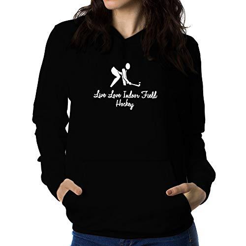 Teeburon Live Love Indoor Field Hockey Sudadera con Capucha para Mujer