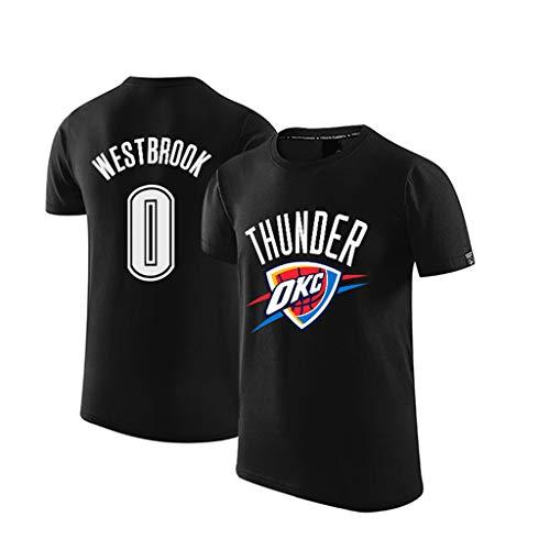 T-Shirt, Oklahoma Russell # 0 Westbrook Basketball-Trikots Unisexbasketball-Hemd Jersey-Hemden Basketball-Kleidung-Black-XL