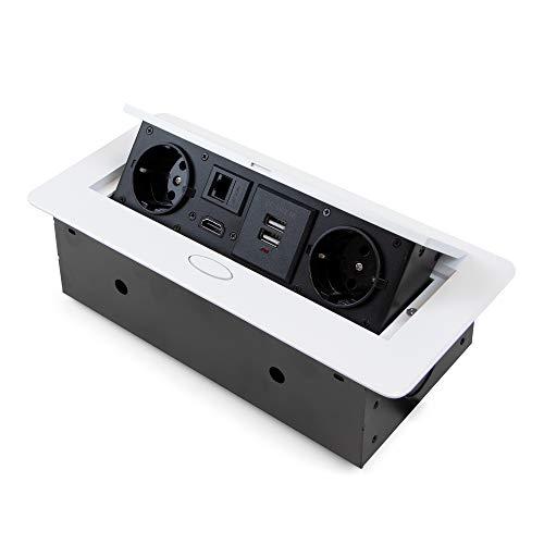 Emuca - Regleta multienchufe retráctil para empotrar en la mesa, base de enchufes multiconector (enchufe EU tipo F, USB, RJ45 y HDMI), 265x120mm, blanco.