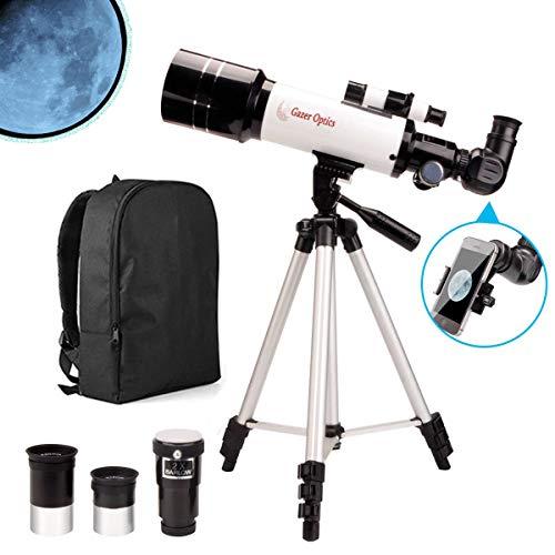 Moutec Telescopio para Principiantes, Telescopios Refractores 400/70mm para niños y Adultos con Mochila, Adaptador de teléfono Inteligente y Oculares, Trípode Ajustable