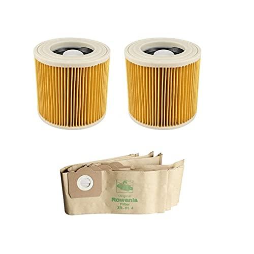 Limpiador de limpieza para el hogar, bolsa de filtro de polvo de repuesto para aspiradora Karcher WD3.200 WD3300 MV3 Accesorios para filtros Hepa Bolsas de polvo (color : HXL6113 para 5 piezas)
