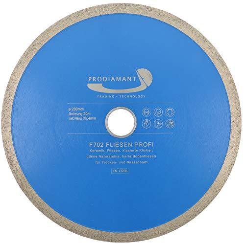 PRODIAMANT Profi Diamant-Trennscheibe PRORIM 230 mm x 30/25,4 mm kein ausbrechen bei glasierten Fliesen Feinsteinzeug Keramikn Diamanttrennscheibe F702 230mm mit Bohrung 30mm und Ring auf 25,4mm
