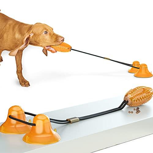 Juguetes para Perros,Perros Accesorios,Pelota de Juguete para Perros con 2 Ventosas,Limpieza de Dientes con Función de Cuidado Dental para Perro,Adecuado para Perros pequeños y Grandes