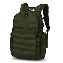 MATERIAL- 25 Liters. This military backpack is made of 600D Water resistant Polyester. YKK Zipper. HYDRATION COMPARTMENT- This assault pack with hydration compartment and can hold a 2 Liter bladder, the tube is fed through the top of the bag near gra...