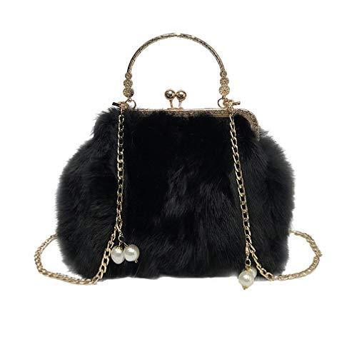 TENDYCOCO borsa da sera kiss lock pochette con borsa a catena in pelliccia per donna
