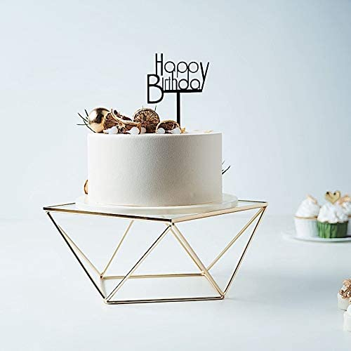 BalsaCircle 12 Inch Gold Clear Metal Glass Geometric Cake Stand Wedding Reception Birthday Party product image