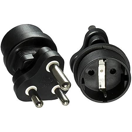 Dinic Reisestecker Stromadapter Für Südafrika Und Indien Auf Schutzkontakt Buchse Netzadapter 3 Polig 1 Stück Schwarz Elektronik