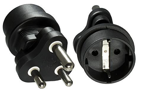 DINIC Reisestecker, Stromadapter für Südafrika und Indien auf Schutzkontakt-Buchse, Netzadapter 3-polig (1 Stück, schwarz)
