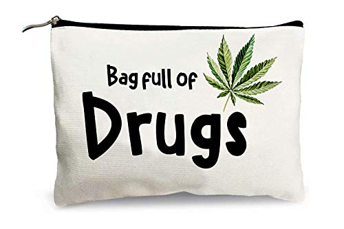 Funny Makeup Bags for Women - Bag Full of Drugs - Cosmetic Travel Bags Cotton Zipper Pouch Toiletry Make-Up Case Patient Medication Bag pill Bag for Best Friends Bestie Sister Daughter Birthday Gifts