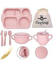 Deefong Lightweight Straw Plates For Kids, Unbreakable Tableware Set Travel Safe Dishes, Baby Utensils Self Feeding, Bowls, Cups Set, Dishwasher & Microwave Safe Dinnerware Set
