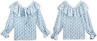 YXHM A Tops Shirt Chiffon Going Out Feminine Bow-tie Office Commuting Bow-tie Blouse Ruffle Blouse Ladies Polka dot (Color : Blue, Size : L)