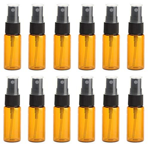 12 pcs Ambre Vaporisateur en verre Fiole Bottls Pot Pots avec buse de Noir clair et capuchon Maquillage Eau Parfum Cosmétique échantillon Emballage support