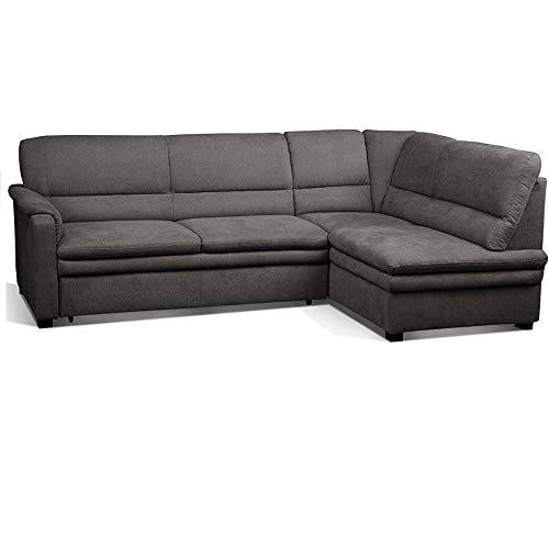 Cavadore Ecksofa Pisoo / L-Sofa mit hochwertigem Federkern im klassischen Design / Ottomane rechts / Größe: 245 x 89 x 161 cm (BxHxT) / Farbe: Grau...