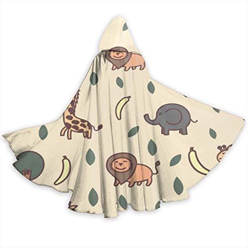 NR Giraffe, Löwe, Elefant und AFFE Halloween Umhang Fancy Kapuze Cape mit Kordelzug Adult kühle Hexe Robe extralange Partei Cape