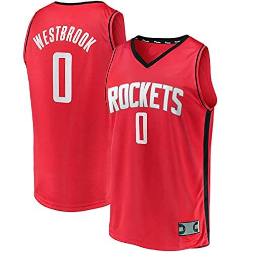 PAKUES-QO Camisetas De Baloncesto Al Aire Libre Russell Houston No.0 Rojo, Rockets Youth Fast Break Player Replica Jersey Regalos para Niños- Icon Edition
