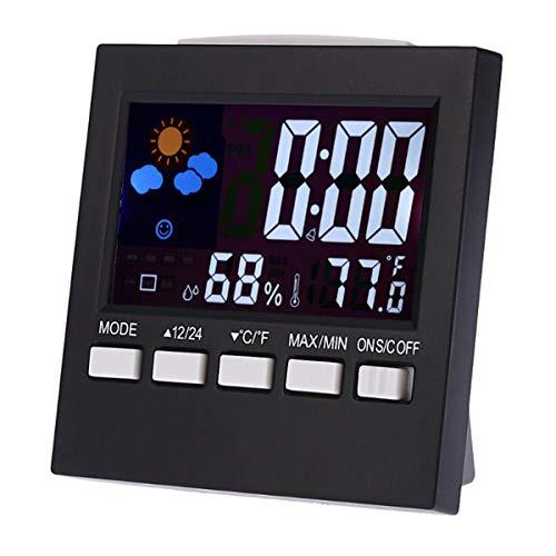 iFCOW Termómetro digital Higrómetro de humedad interior Reloj preciso Medidor de temperatura ambiente Monitor de humedad LCD Despertador