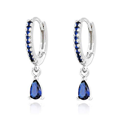 Iyé Biyé Jewels - Pendientes de Aro Mujer Plata de Ley 925 con Circonitas Azules y Colgante Piedra Azul 6 Mm Cierre Clip