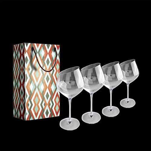 Copas de Vino, Juego de 4 Copas de Vino Tinto(Capacidad: 55 cl/640 ml), Copas de Vino Blanco con un Tallo Largo para una cumpleaños, Aniversarios, Navidad 640ML