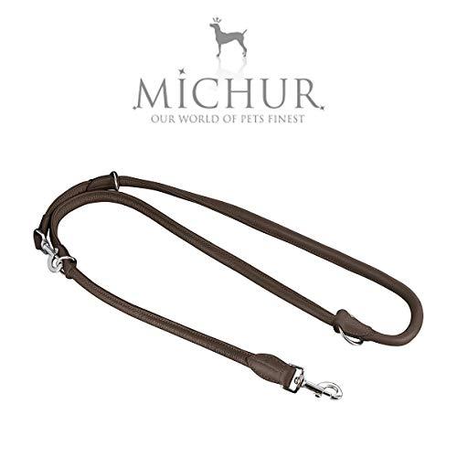 MICHUR SANTIAGO Bruine hondenriem leer, lederen riem hond, riem, ronde riem leer, verstelbare lengte, maat verstelbaar, verstelbaar LEINE LEDER, bruin, verkrijgbaar in verschillende maten