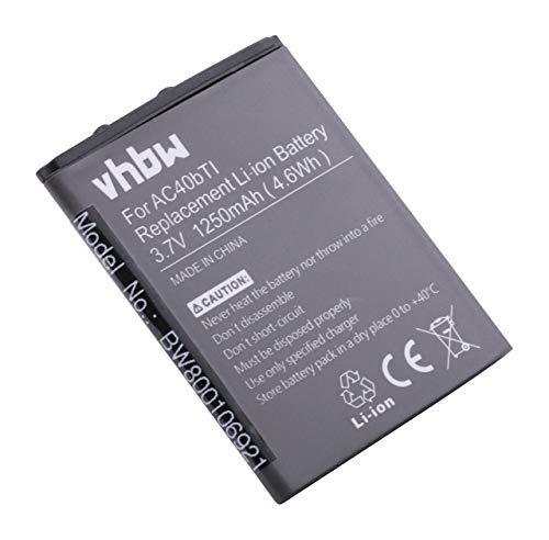 vhbw Li-Ioni Batteria 1250mAh (3.7V) per Smartphone Archos 40b Titanium, 40 b Titanium, 40b Titanium Surroe, AC40bTi come AC40bTI.