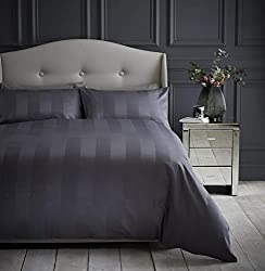 Includes 1 x duvet cover, double size 200 x 200 cm and two pillowcases, 50 x 80 cm Classic design featuring a sateen stripe throughout Crafted 200 thread count cotton which is smooth to the touch Platinum, champagne and charcoal colourways Machine wa...
