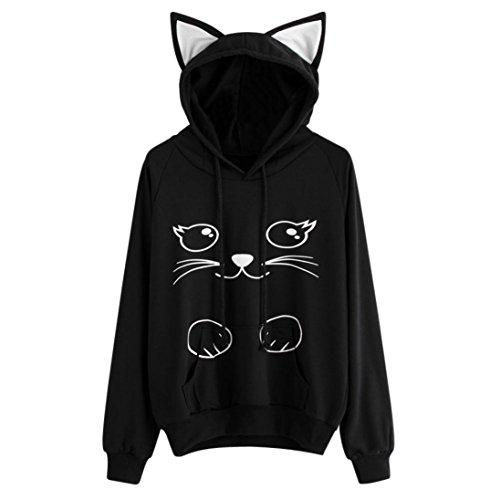 SHOBDW Mujer Gato de Manga Larga Sudadera con Capucha Blusa Tops Jersey (Negro 9182, S)