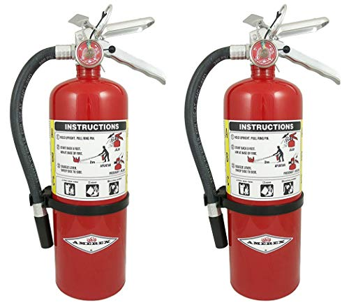 Amerex B402 QWMLBB 5lb ABC Dry Chemical Class A B C Fire Extinguisher, with Wall Bracket, 2 Pack