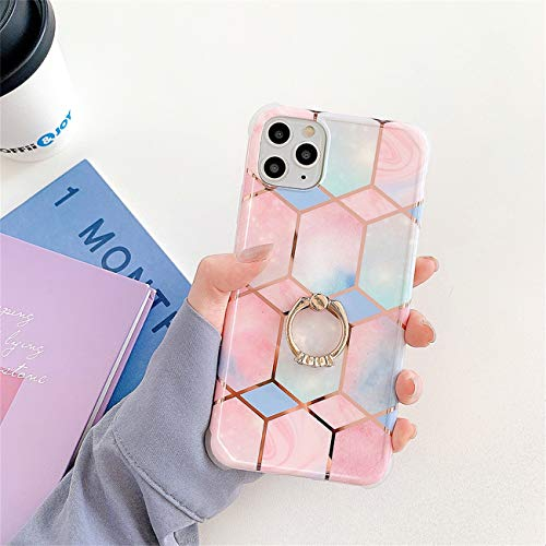 Bakicey iPhone 12 Pro Max Hulle iPhone 12 Pro Max Marmor Handyhulle mit 360 Grad Ring Stander Ultra Dunn Soft Silikon TPU Bumper Stosfest Case Anti kratzt Schutzhulle fur iPhone 12 Pro Max 26