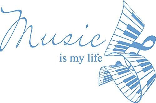 GRAZDesign Deko Aufkleber Musik ist Mein Leben - Wandsticker Klavier Noten Schlüssel - Wandtattoo Spruch Zitat / 60x40cm / 056 lichtblau