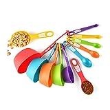 Cuchara Dosificadora De Plástico Y Combinados Taza De Colores Libre De BPA, 12 PC Herramienta De Cocina Cucharas De Medida Cucharadita Cucharadas De Ingredientes Líquidos Y Secos