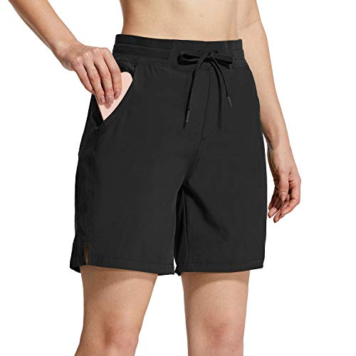 """BALEAF Women's 7"""" Hiking Shorts 5 Pockets Quick Dry UPF 50+ Stretch Workout Shorts for Camping, Travel, Running Black Size L"""
